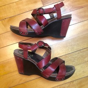 Dansko Frida Wedge Red Leather Sandals